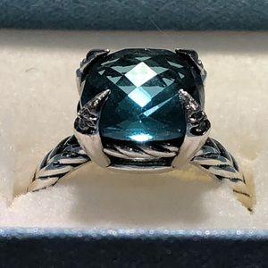 David Yurman Chatelaine Hampton Blue Topaz Ring 6